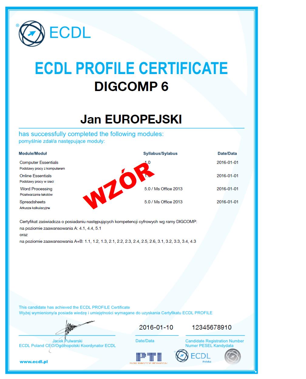 ECDL Profile DIGCOMP wzór certyfikatu