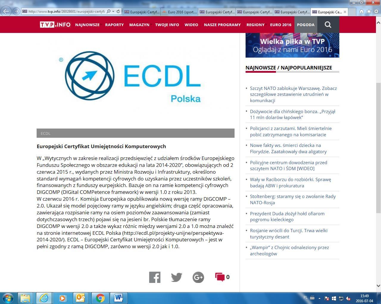 zrzut ekranu z TVP.INFO ECDL Polska